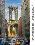 Manhattan Bridge From A Busy...