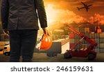 working man in container dock... | Shutterstock . vector #246159631