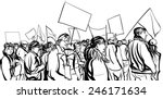 protesters crowd walking in a... | Shutterstock .eps vector #246171634