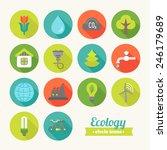 set of round flat ecological...