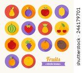 set of round flat fruits icons. ...