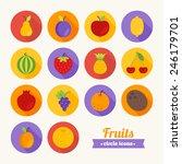 set of round flat fruits icons. ...