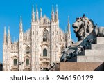Milan Cathedral With Monument...