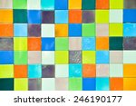 On The Walls Of Colored Tiles