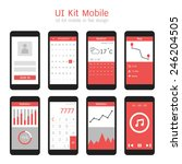 ui kit mobile in flat design