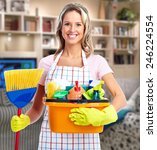 Young Smiling Cleaner Woman In...