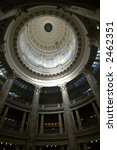 detail of interior of State Capitol building dome - stock photo