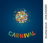 carnival card with confetti | Shutterstock .eps vector #246240085