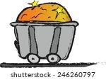 cartoon iron mine cart with...