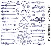 doodles border arrows hearts... | Shutterstock .eps vector #246275269