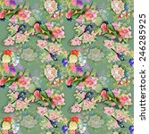 exotic birds with flowers... | Shutterstock . vector #246285925