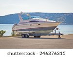 boat on a trailer by the sea ... | Shutterstock . vector #246376315