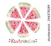 watercolor slice of sweet... | Shutterstock .eps vector #246378289