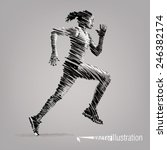 running woman. vector artwork... | Shutterstock .eps vector #246382174