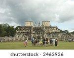 tourists visiting the mayan row ...