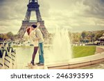 Lovers Kissing In Paris With...