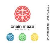 Stock vector set of brain maze icons concept logo vector illustration 246403117