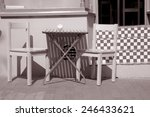 cafe table and chair in black... | Shutterstock . vector #246433621