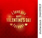valentine's day golden badge... | Shutterstock .eps vector #246439819