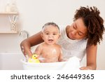 baby bath time | Shutterstock . vector #246449365