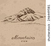 mountains and lake. hand drawn...   Shutterstock .eps vector #246449581