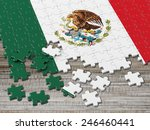 mexico puzzle flag wavy with... | Shutterstock . vector #246460441