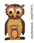 mother owl and baby owl ... | Shutterstock . vector #246473971