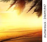 Sunset On The Beach Of...