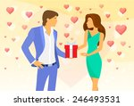 valentine day red heart couple... | Shutterstock .eps vector #246493531