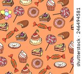 seamless background with sweets ... | Shutterstock .eps vector #246494581