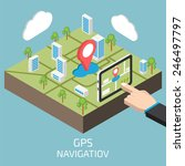 gps isometric with hand and... | Shutterstock .eps vector #246497797