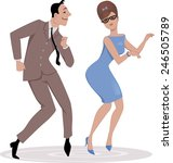 couple  dressed in late 1950s... | Shutterstock .eps vector #246505789