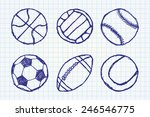 ball sketch set simple outlined ... | Shutterstock .eps vector #246546775