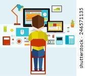 people working in front of... | Shutterstock .eps vector #246571135