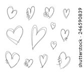 hand drawn hearts | Shutterstock .eps vector #246590839