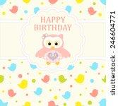 baby girl arrival card. baby... | Shutterstock .eps vector #246604771