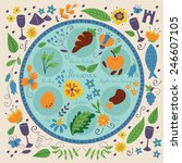 passover seder plate with... | Shutterstock .eps vector #246607105