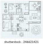 black and white floor plan... | Shutterstock .eps vector #246621421