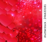 hearts and lights red colorful... | Shutterstock .eps vector #246633181