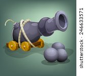 cartoon cannon and cannon balls....