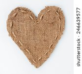 symbolic heart of burlap lies... | Shutterstock . vector #246639577