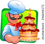 cook and chocolate cake | Shutterstock .eps vector #246646171