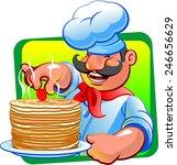 cook pancakes | Shutterstock .eps vector #246656629
