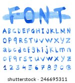 Font Watercolor. Handwritten...
