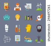electricity icon flat set with... | Shutterstock .eps vector #246697261