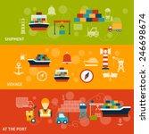 seaport flat horizontal banner... | Shutterstock .eps vector #246698674
