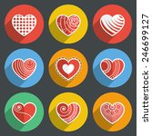 set of flat heart icons on... | Shutterstock .eps vector #246699127