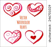 set of vector watercolor hearts ... | Shutterstock .eps vector #246701029