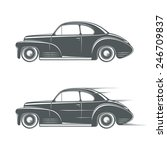 black and white classic car... | Shutterstock .eps vector #246709837