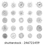 Set Of Hand Drawn Sunbursts....